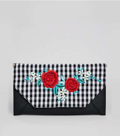 Black Gingham Floral Embroidered Clutch | New Look