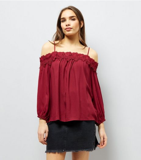Red Crochet Lace Trim Cold Shoulder Top | New Look