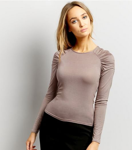 Mink Ruched Shoulder Long Sleeve Top  | New Look