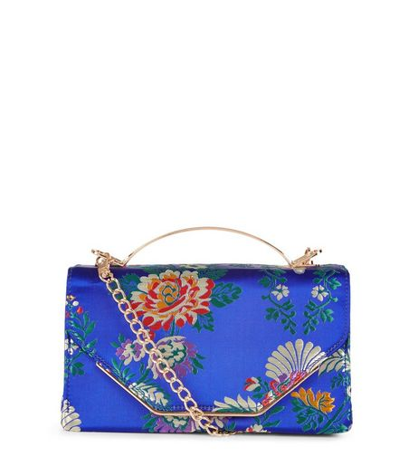 Blue Floral Jaquard Metal Handle Bag | New Look