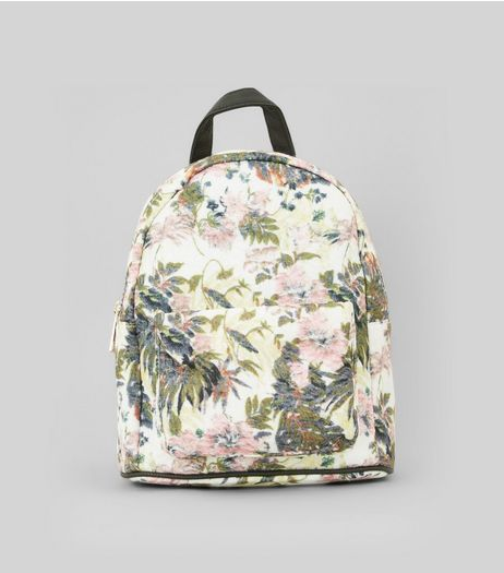 White Floral Printed Textured Mini Backpack | New Look