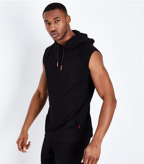 Black Sleeveless Running Hoodie | New Look