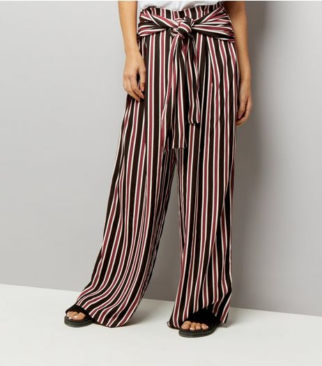Blue Stripe Tie Waist Trousers | New Look
