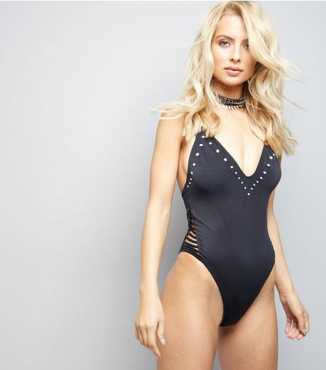 Pool To Party Black Stud Trim Lattice Side Swimsuit | New Look