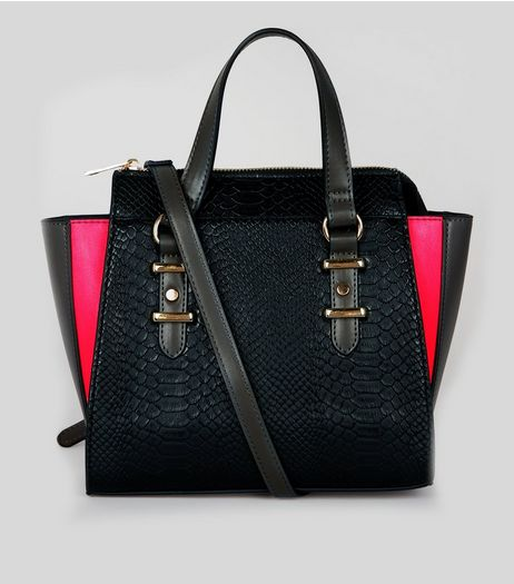 Black Snakeskin Texture Neon Trim Mini Tote Bag | New Look