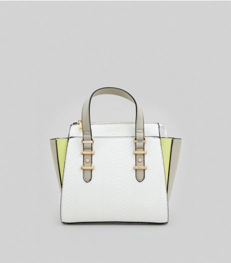 White Neon Trim Tote Bag | New Look