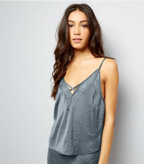 Petrol Blue Satin Lace Trim Pyjama Cami | New Look