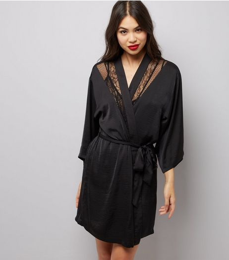 Black Satin Lace Trim Robe | New Look