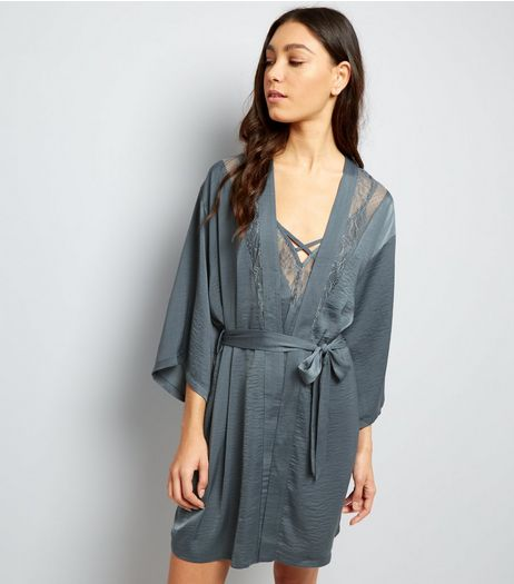 Petrol Blue Satin Lace Trim Robe | New Look