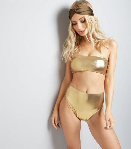 Pool To Party Gold Bandeau Bikini Top | New Look