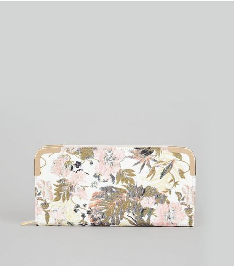 Pink Floral Jacquard Zip Around Purse | New Look