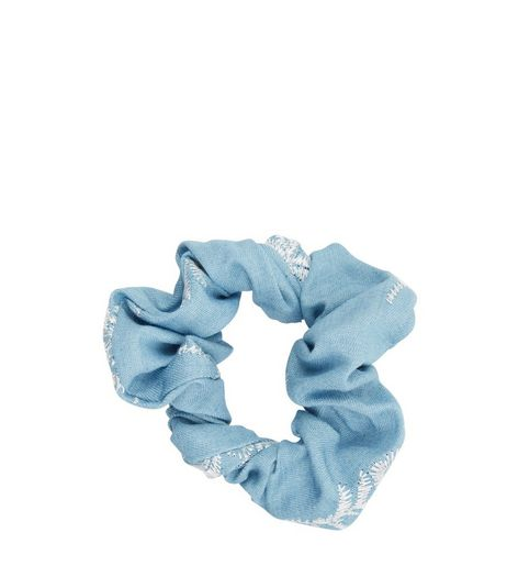 Blue Denim Embroidered Scrunchie | New Look