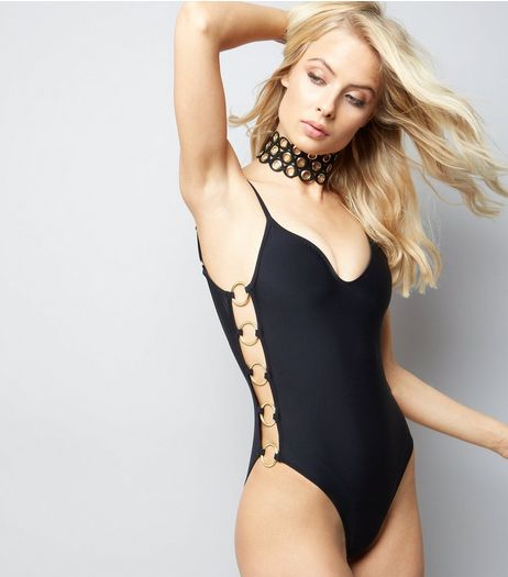 Pool To Part Black Ring Side Swimsuit | New Look