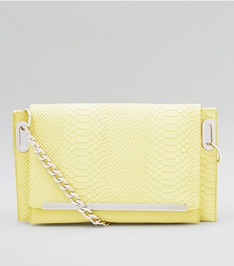 Yellow Snakeskin Texture Cross Body Bag | New Look