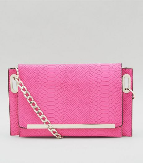 Pink Snakeskin Texture Cross Body Bag | New Look