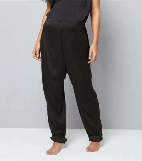 Maternity Black Satin Lace Trim Pyjama Bottoms | New Look