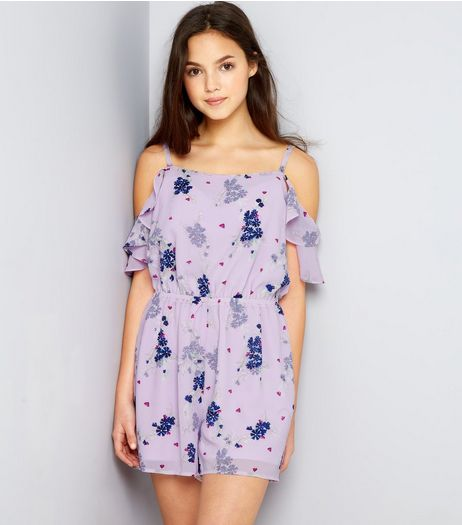 Teens Pink Ditsy Floral Frill Sleeve Playsuit | New Look