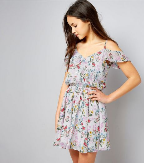 Teens White Floral Print Wrap Front Dress | New Look