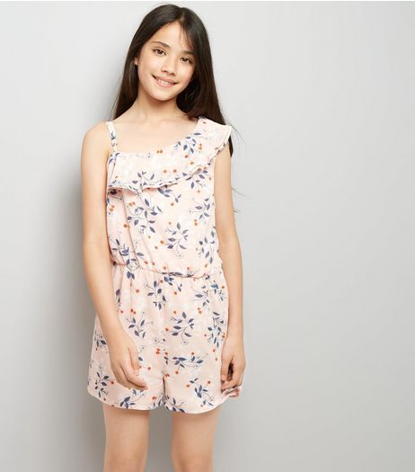 Teens Pink Floral Print Asymmetric Frill Playsuit | New Look