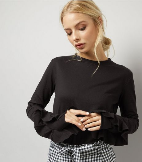 Black Frill Trim Sleeve Funnel Neck Top | New Look