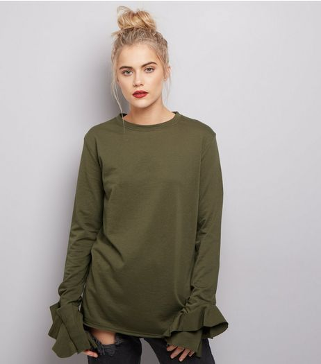 Olive Green Frill Trim Long Sleeve Top  | New Look