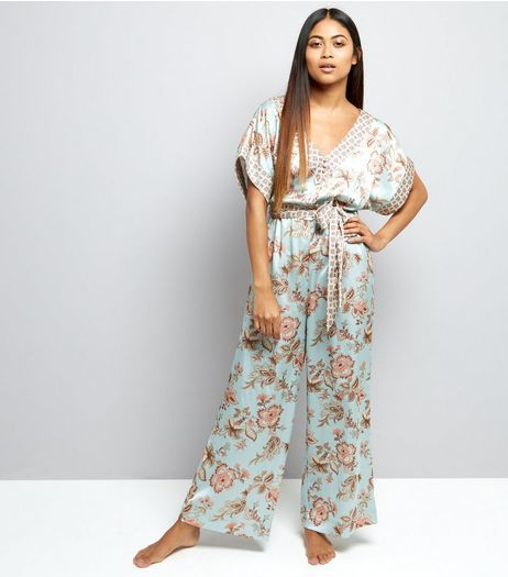 Petite Mint Green Contrast Floral Satin Lounge Jumpsuit | New Look