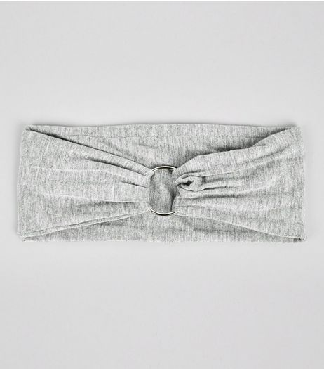 Grey Jersey Ring Front Headband | New Look