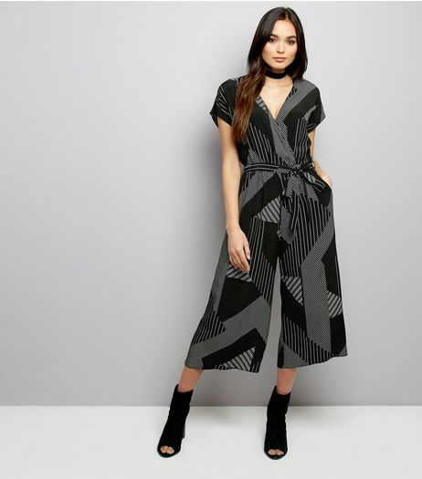 Black Contrast Stripe Culotte Jumpsuit  | New Look