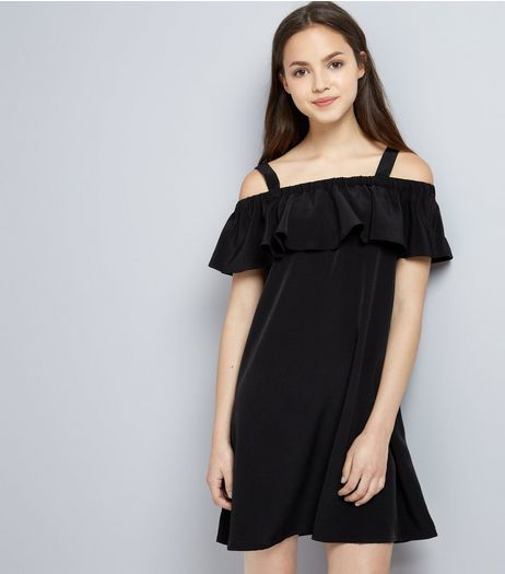 Teens Black Frill Trim Bardot Neck Dress | New Look