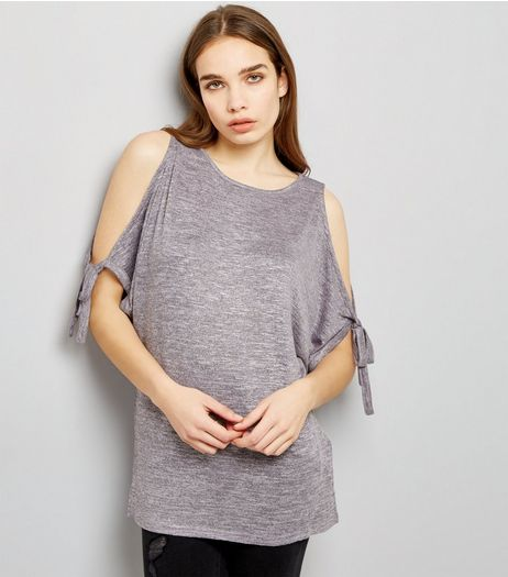 Light Purple Tie Sleeve Cold Shoulder Longline Top  | New Look