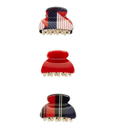 3 Pack Red and Navy Geo Print Mini Bulldog Clips | New Look