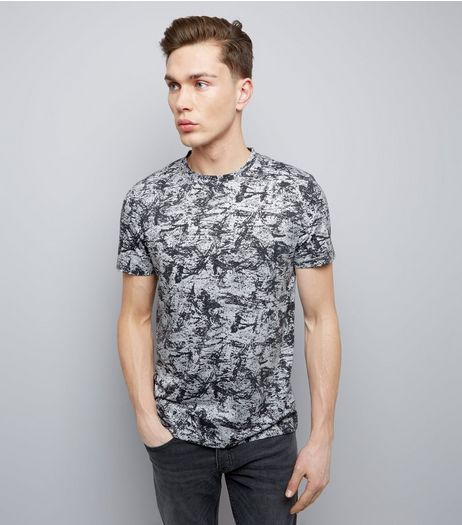 Navy Textured Print Crew Neck T-Shirt | New Look