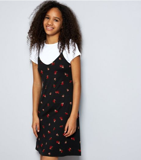 Teens Black 2 In 1 Rose Print Slip Dress | New Look