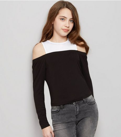 Black 2 in 1 Cold Shoulder Colour Block Top  | New Look