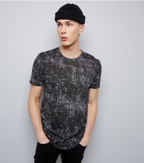 Black Textured Print Longline T-Shirt | New Look