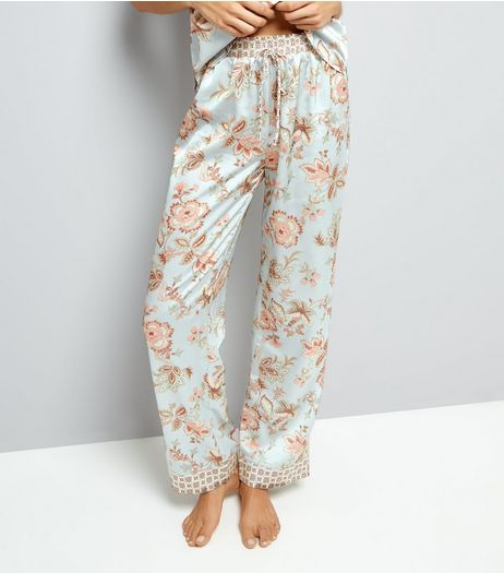 Tall Mint Green Contrast Floral Satin Pyjama Bottoms | New Look