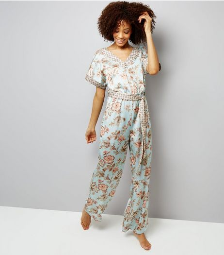 Tall Mint Green Contrast Floral Satin Lounge Jumpsuit | New Look
