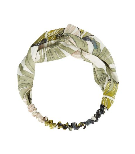 Green Palm Leaf Print Twist Front Headband | New Look