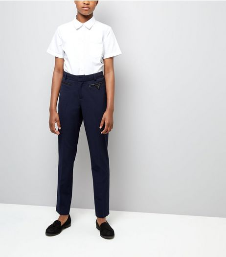 Teens Navy Pocket Trim Trousers | New Look