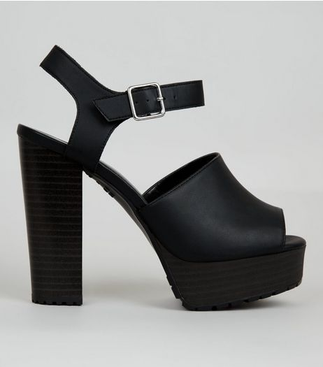 Wide Fit Black Peep Toe Block Heels | New Look