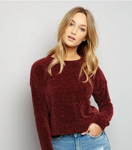 Burgundy Chenille Cropped Jumper | New Look