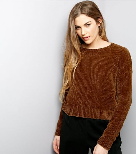 Yellow Chenille Cropped Jumper  | New Look