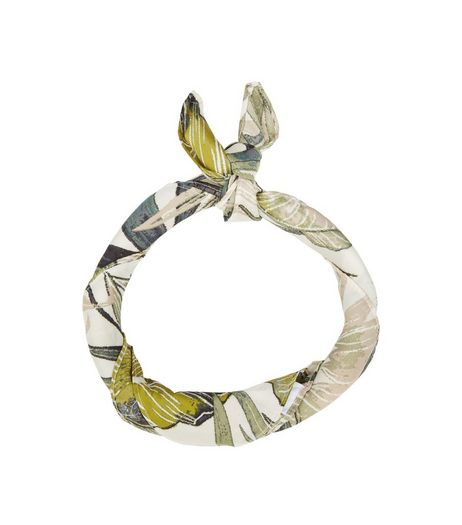 Green Palm Leaf Print Bandana | New Look