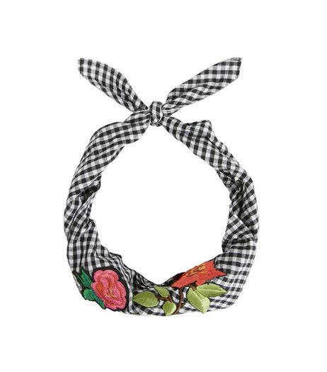 Black Gingham Floral Badge Bandana | New Look