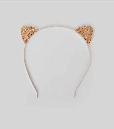 Rose Gold Glitter Cat Ears Headband | New Look