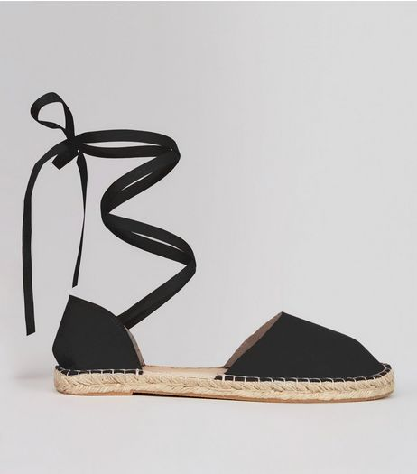Wide Fit Black Ankle Tie Espadrille Sandals | New Look