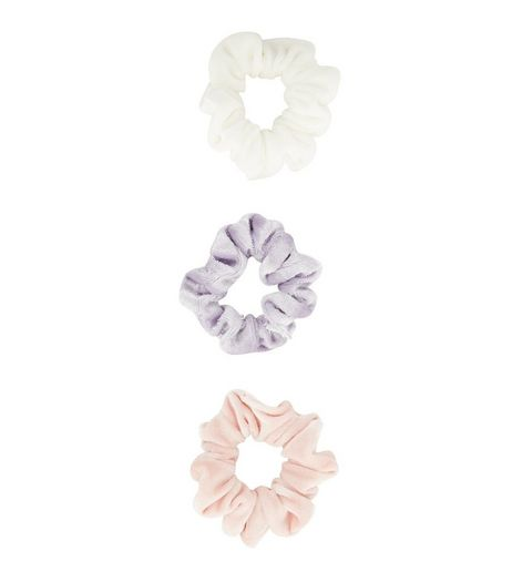 3 Pack White Pink and Lilac Velvet Scrunchies | New Look