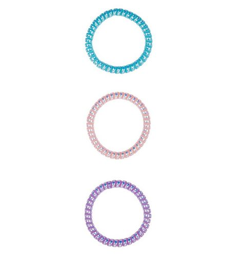 3 Pack Pink Blue and Green Spiral Bobbles | New Look