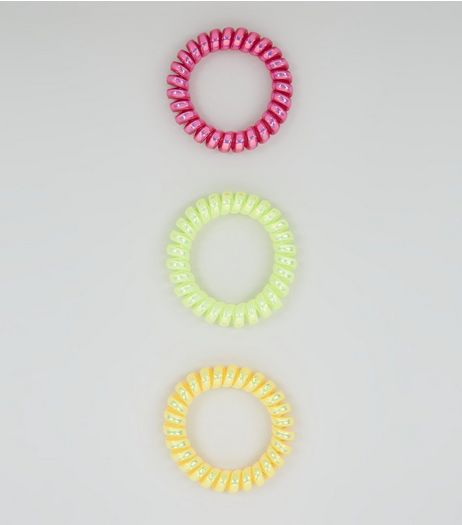 3 Pack Pink Green and Yellow Spiral Bobbles | New Look