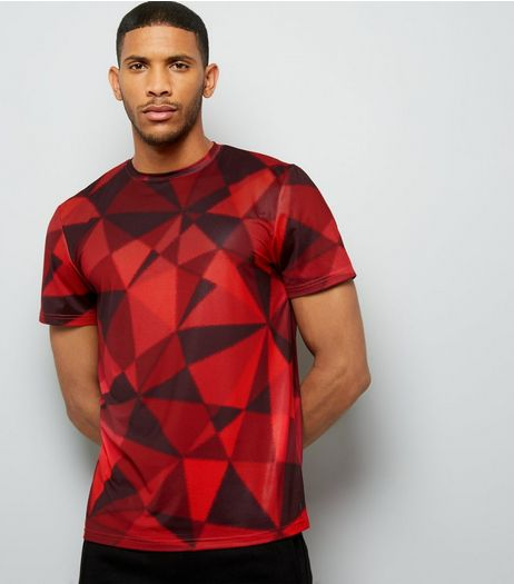 Red Geometric Print Sports T-Shirt | New Look